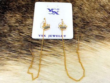 گوشواره زنجیری وبخیه ای ysx