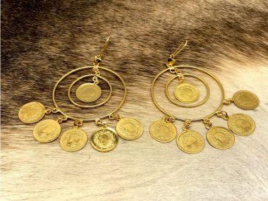 گوشواره طرح طلای سکه ای